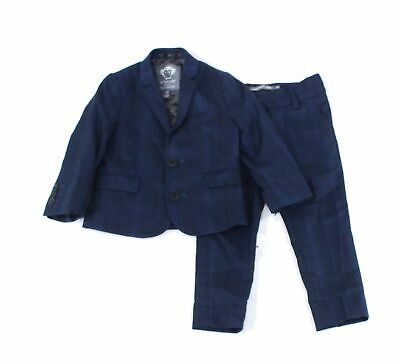 Appaman Baby Boys Suits Blue Black USA Size 2T Plaid-Printed 2-Piece $185 065