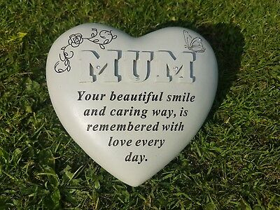 Mum Grave Ornament Memorial Plaque Remembrance Raised Letters Heart Mothers Day