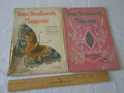 2 Vintage Home Needlework Magazine Feb May 1914 Patterns Old VTG Booklet Crochet