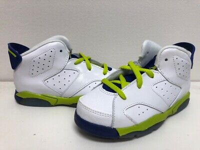 Jordan 6 Retro GT Baby Toddlers Shoes White//Green-Royal Blue-Pink 645127-108