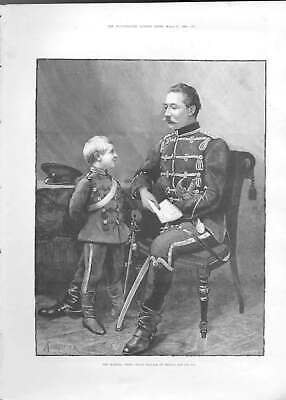 Original Old Antique Print Crown -Rince William Prussia And Son 1888 A Victorian
