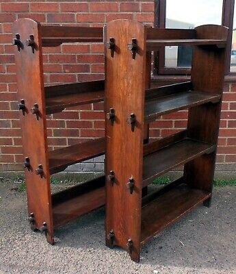 Pair Edwardian antique Arts Crafts solid pegged numbered open library bookcases