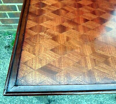 French Edwardian antique Louis XVI parquetry gilt bronze mahogany side table