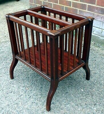 Victorian antique solid walnut Arts & Crafts Canterbury magazine rack bookcase
