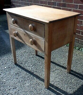 Unusual early Victorian compact Farmhouse 2 drawer solid pine chest of drawers