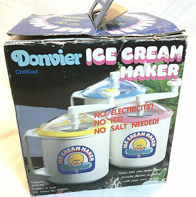Vintage Donvier Chill-fast Ice Cream Maker Yellow-rim Japan 2 Pints (1 L)