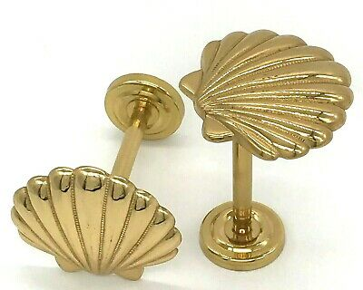 Set of 2 Vintage Brass Metal Scallop Shell Curtain Tie Backs - Wall Mounted