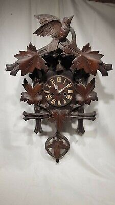Large Carved Junghans Cuckoo Clock Unusual Intersting Clock Black Forest