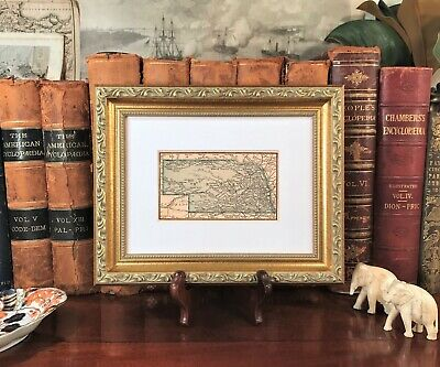 Framed Original 1889 Antique Map NEBRASKA Kearney Fremont Lincoln Hastings Omaha