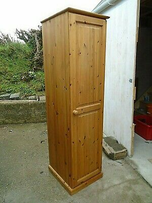 Tall Narrow Solid Pine Single Wardrobe Hall Coat Cupboard Country Kitchen Unit