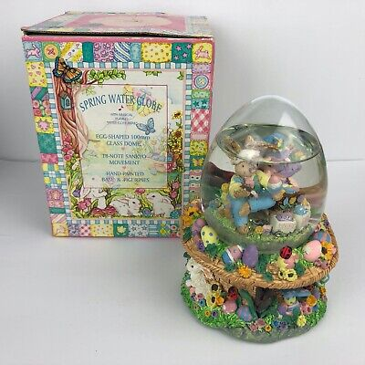 """Easter Spring Water Globe w/ Musical """" Peter Cottontail"""" Egg Shaped"""