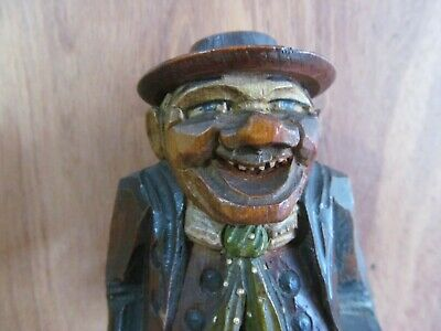 Antique Anri Style Hand Carved Wood Man Italian Worker