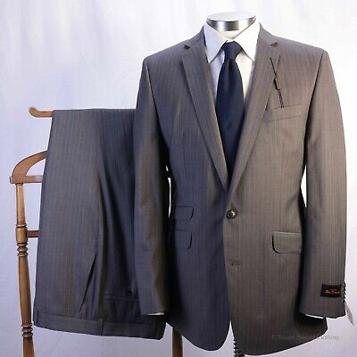 New! BEN SHERMAN Taupe Grey Pinstripe Suit Ticket Pocket Flat Front 42L EH02
