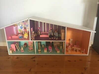 Dolls House with Furniture and Wooden Dolls - Mid Century Modern Retro Style