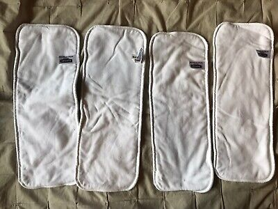 "(4) Thirsties Modern Cloth Diaper Hemp Insert White Set of 4 Large 14.5"" x 5.5"""
