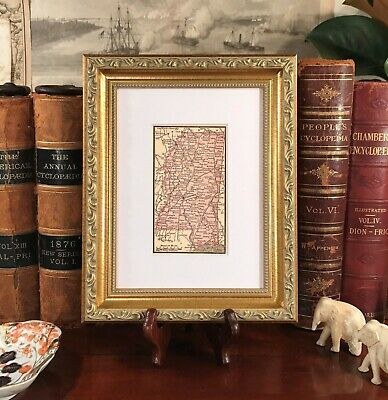 Framed Original 1889 Antique Map MISSISSIPPI Starkville Vicksburg Oxford Corinth