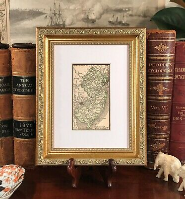 Framed Original 1889 Antique Map NEW JERSEY : Hoboken Brunswick Atlantic City