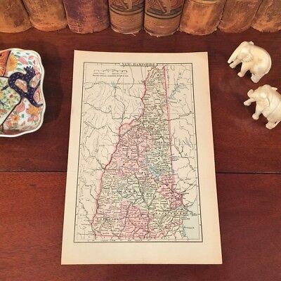 Original 1892 Antique Map NEW HAMPSHIRE Concord Salem Derry Exeter Hudson Conway