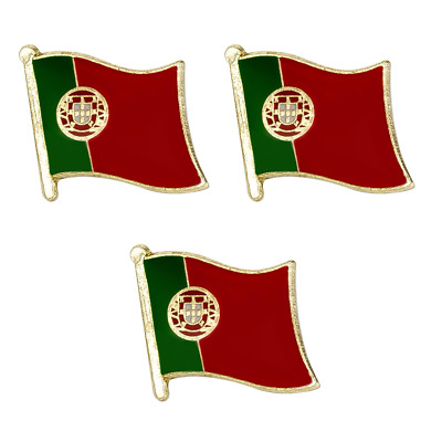 3 X Portugal Portuguese National Country Flag Lapel Pin Badge