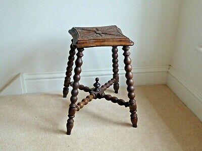 Antique Hand Crafted Oak Bobbin Leg Turned Stool With Four Legs. 46cm x 25cm sq.