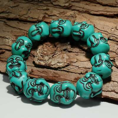Collect China Old Turquoise Hand-Carved Both Sides Now Buddha Delicate Bracelet