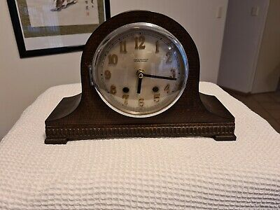 MANTEL CLOCK napoleon hat ANTIQUE vintage wooden collectible clockwork mantle