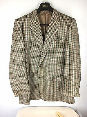 Chester Barrie Hand Tailored Gray Burnt Red Overcheck Sport Coat 44R EUC