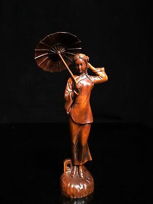 Collect China Boxwood Hand-Carved Classical Beauty Delicate Grace Decor Statue