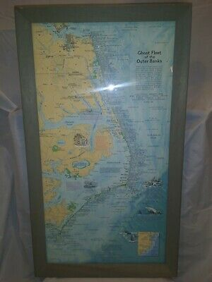 """1970 Ghost Fleet Of The Outer Banks National Geographic Map Framed (12""""X22"""") Wow"""