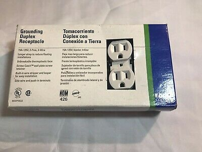 Eagle Electric 270W 15A 125V White Ground Duplex Receptacle Outlet (Box of 10)