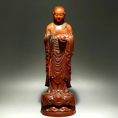 Collect China Old Boxwood Hand-Carved Xuan Zang Wizard Precious Exorcism Statue