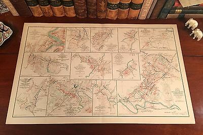 Original Antique Civil War Map 1864 VIRGINIA BATTLES Harpers Ferry Strasburg VA