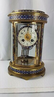 Japy Freres Antique French Champleve 8 Day Oval 4 Glass Crystal Regulator Clock