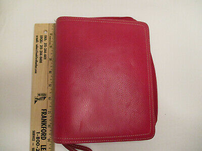 Franklin Covey Compact Zippered Leather Planner / Binder / Organizer - Leather