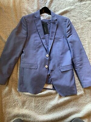 Mens Zara Light Blue Suit Jacket 38R Pants 32x31