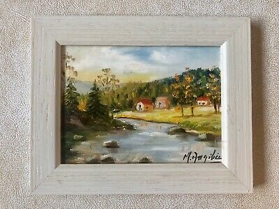 Mid-Century Modern Italian Oil Landscape Painting,Signed,Country/River Scene