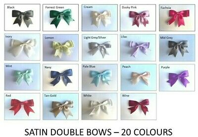 Large Satin Bows 25mm Ribbon Pre Tied Ready Made 8.5cm Wide Craft