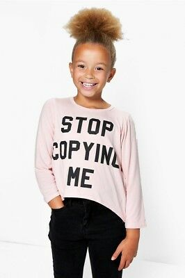 Girls Pale Pink Long Sleeve T-Shirt Top With Dip Hem In Age 5-6 Years Bnwt