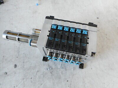 "FESTO 6 off SOLENOIDS and CPV MANIFOLD -- plus Fittings -- 1/8"" ports"