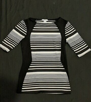 Bar lll Women's Black and White Striped Shirt Tight Fit (Size Small)