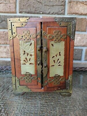 Vintage Chinese Rose Wood Jewelry Box With Carved Jade & Brass Findings
