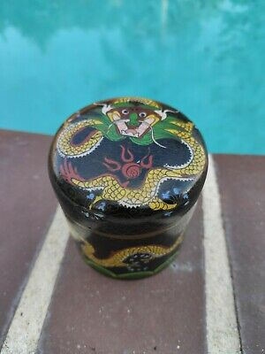 "19th C. Chinese Cloisonne "" Dragon round Box"
