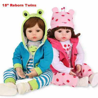 "18"" Reborn Baby Dolls Vinyl Silicone Twins Lifelike Girl+Boy Newborn Gifts Toys"