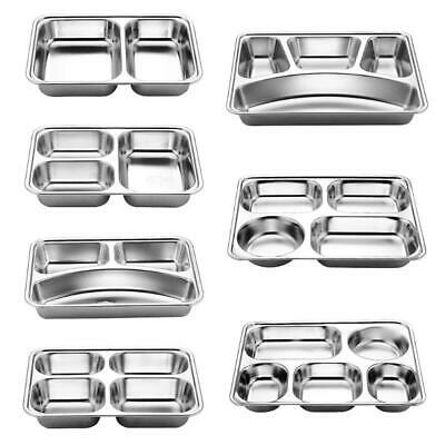 Stainless Steel Camping Plates Divided Stainless Steel Tray Set of 2 Stainless Steel Dinner plates Qualways Rectangular Tray