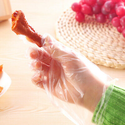 100pcs Food Plastic Disposable Gloves Kitchen Waterproof Transparent for Cooking