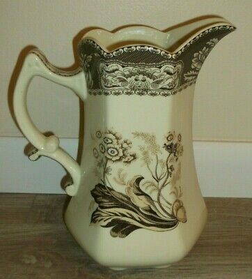 Antique Victorian Style Floral Motif Transfer Ware Porcelain Pitcher