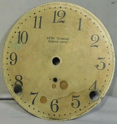 "Antique Seth Thomas Sonora Chime Silvered Brass Clock Dial Vintage 4 5/8"" FACE"