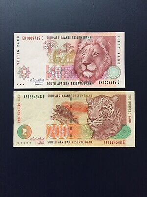 South Africa Rand 50 & 200 Denomination Bank Note.Ideal For Collection.