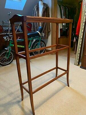 Superb Quality Satinwood Inlaid Towel Clothes Rail Stand Hanger Bathroom Bedroom