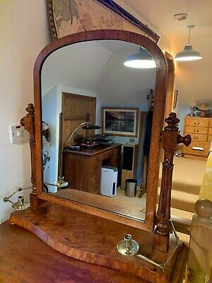 Antique Satinwood Toilet Dressing Table Mirror Brass Candle Holders Art Nouveau